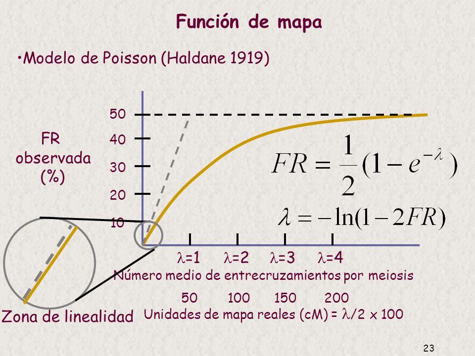 Función de mapa Modelo de Poisson (Haldane 1919) FR observada (%)
