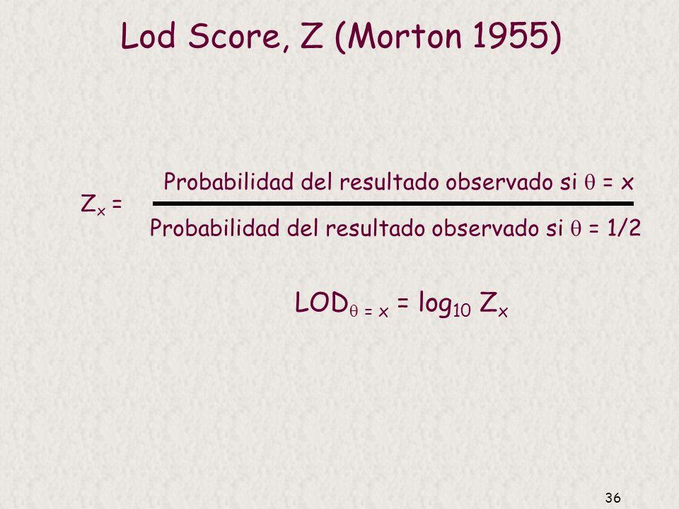 Lod Score, Z (Morton 1955) LOD = x = log10 Zx