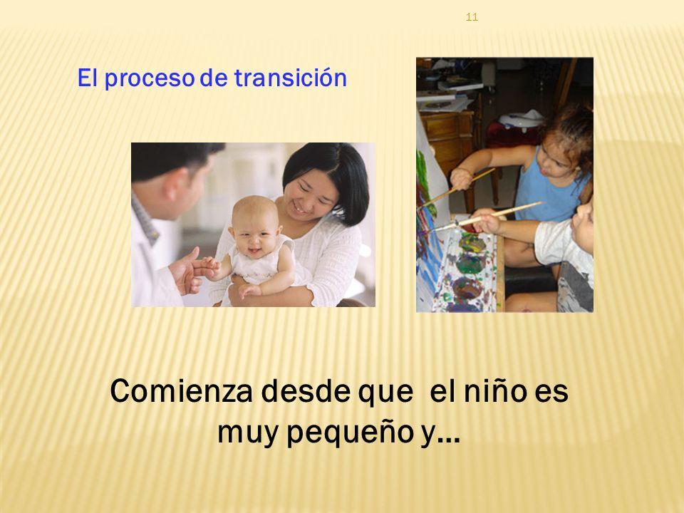 El proceso de transición Comienza desde que el niño es muy pequeño y…
