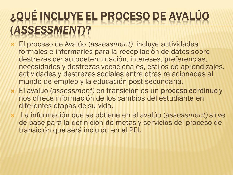 ¿Qué incluye el proceso de avalúo (assessment)