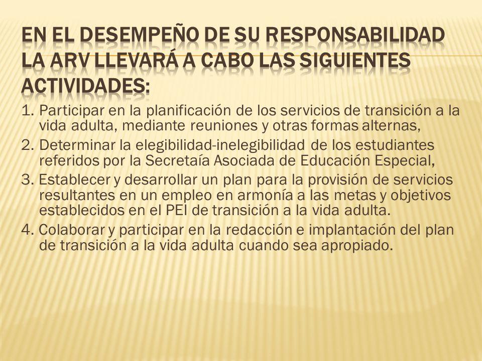 En el desempeño de su responsabilidad la ARV llevará a cabo las siguientes actividades: