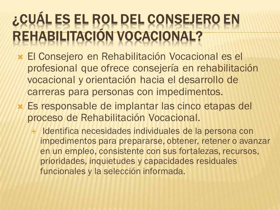 ¿Cuál es el rol del Consejero en Rehabilitación Vocacional