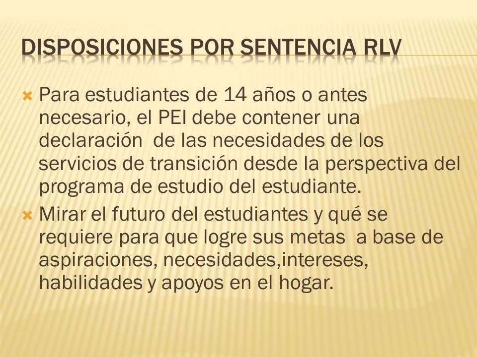 Disposiciones por sentencia RLV