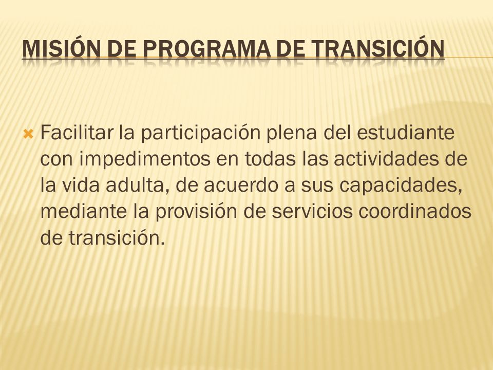 Misión de Programa de Transición