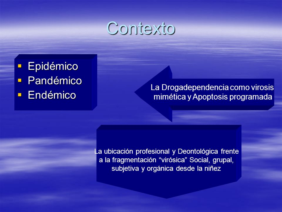 Contexto Epidémico Pandémico Endémico La Drogadependencia como virosis