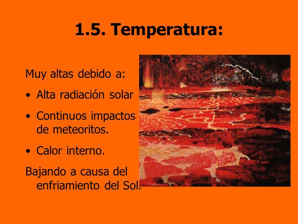1.5. Temperatura: Muy altas debido a: Alta radiación solar
