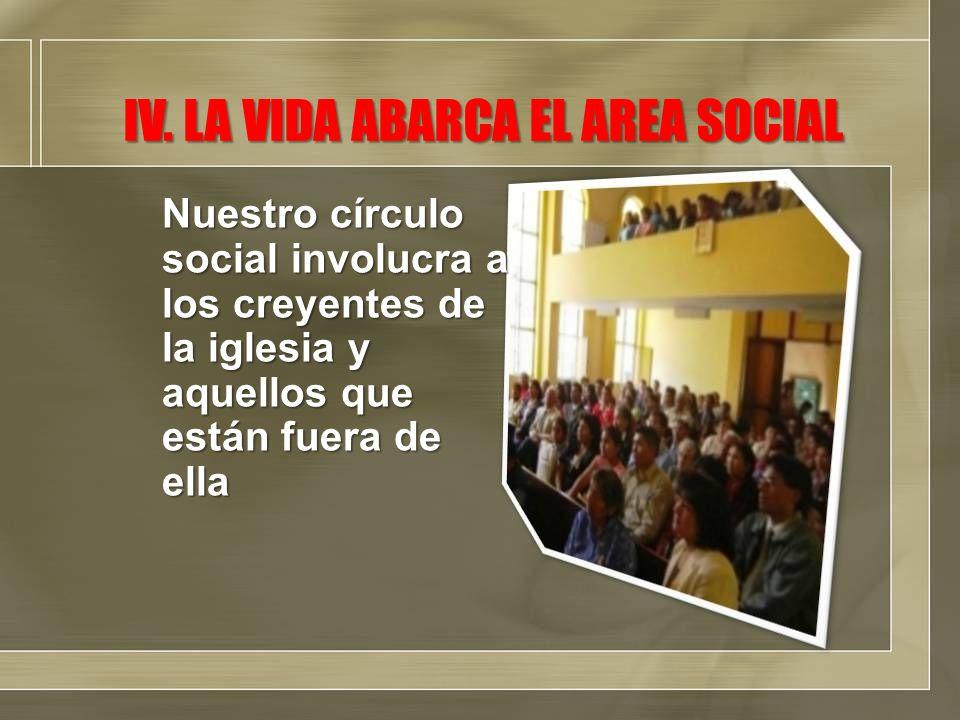 IV. LA VIDA ABARCA EL AREA SOCIAL