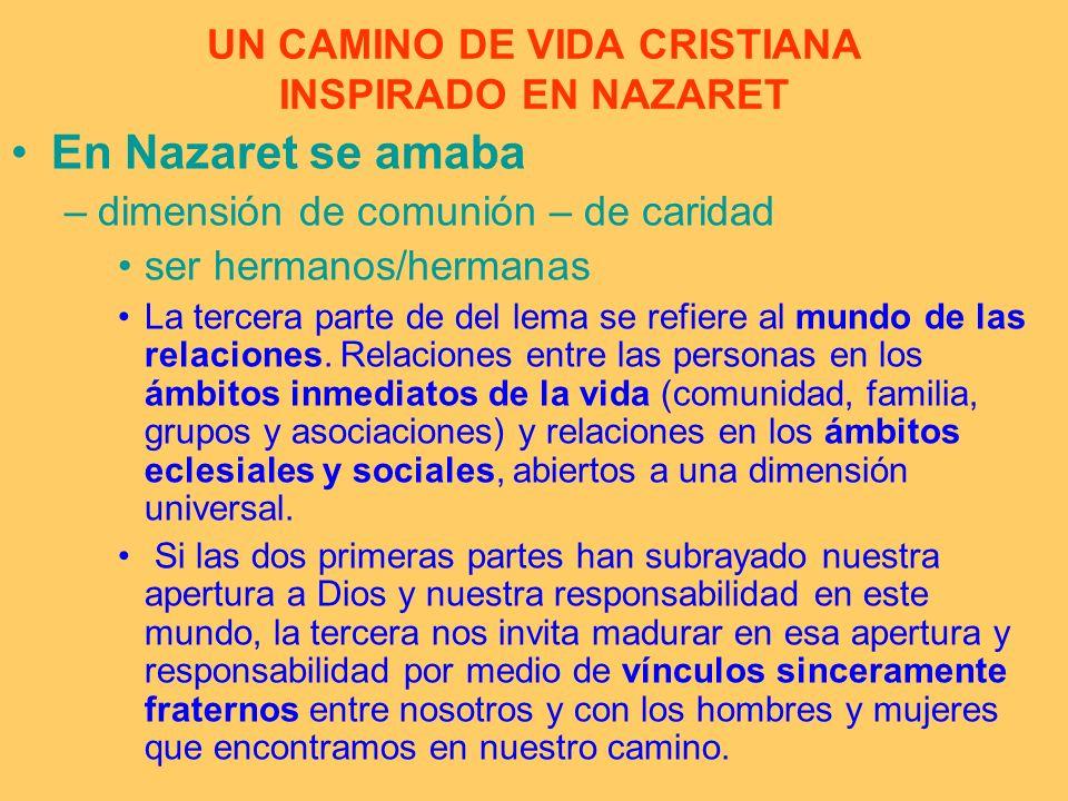 UN CAMINO DE VIDA CRISTIANA INSPIRADO EN NAZARET