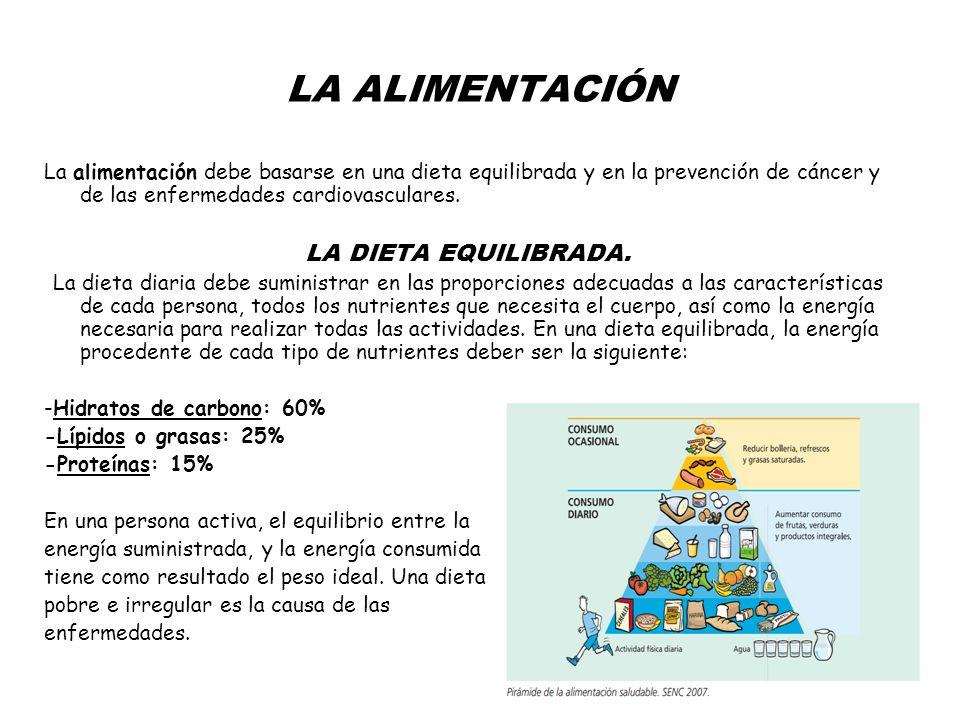 LA ALIMENTACIÓN La alimentación debe basarse en una dieta equilibrada y en la prevención de cáncer y de las enfermedades cardiovasculares.