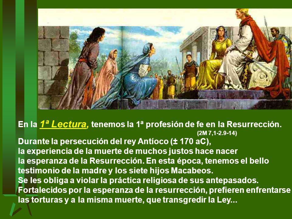 En la 1ª Lectura, tenemos la 1ª profesión de fe en la Resurrección.