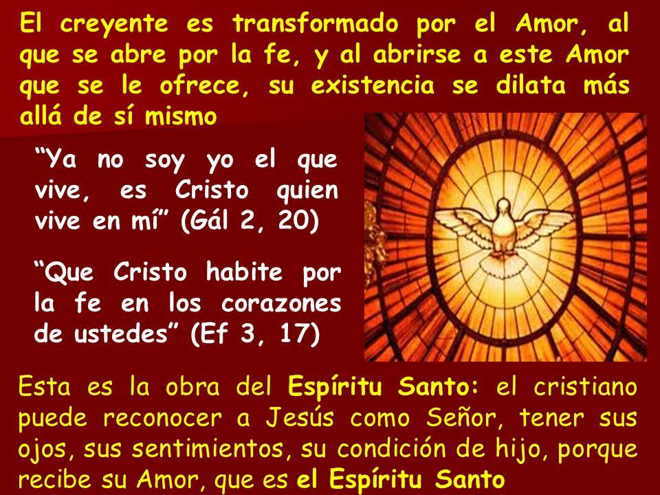 El creyente es transformado por el Amor, al que se abre por la fe, y al abrirse a este Amor que se le ofrece, su existencia se dilata más allá de sí mismo