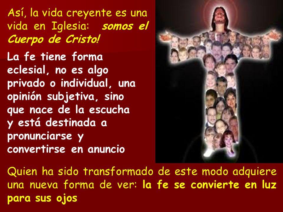 Así, la vida creyente es una vida en Iglesia: somos el Cuerpo de Cristo!