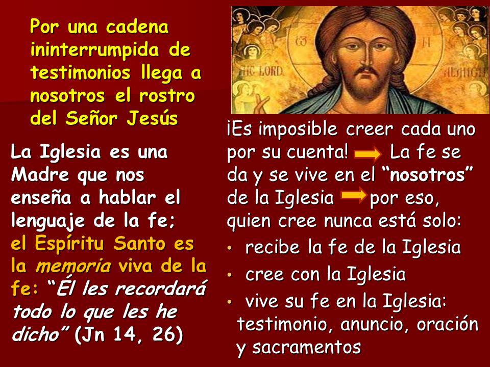 Por una cadena ininterrumpida de testimonios llega a nosotros el rostro del Señor Jesús