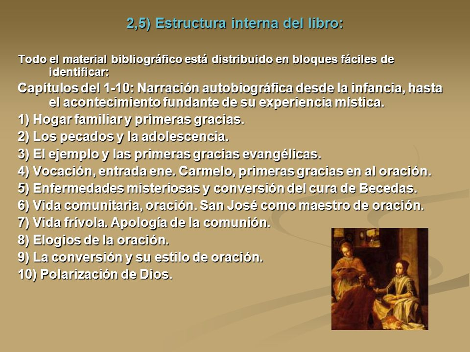 2,5) Estructura interna del libro: