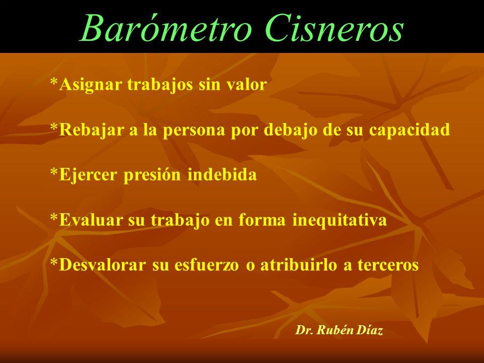 Barómetro Cisneros Asignar trabajos sin valor