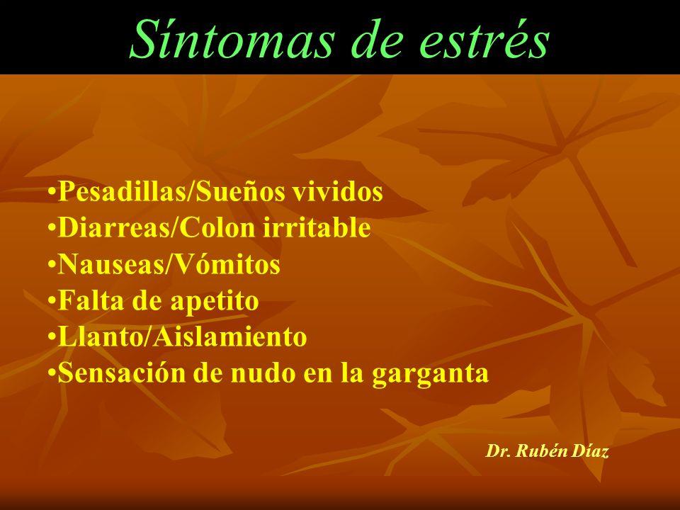 Síntomas de estrés Pesadillas/Sueños vividos Diarreas/Colon irritable