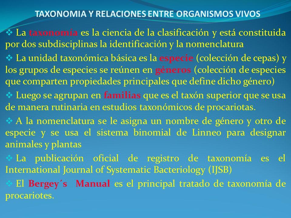 TAXONOMIA Y RELACIONES ENTRE ORGANISMOS VIVOS