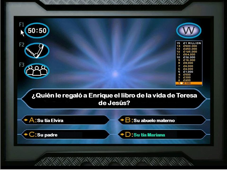¿Quién le regaló a Enrique el libro de la vida de Teresa de Jesús