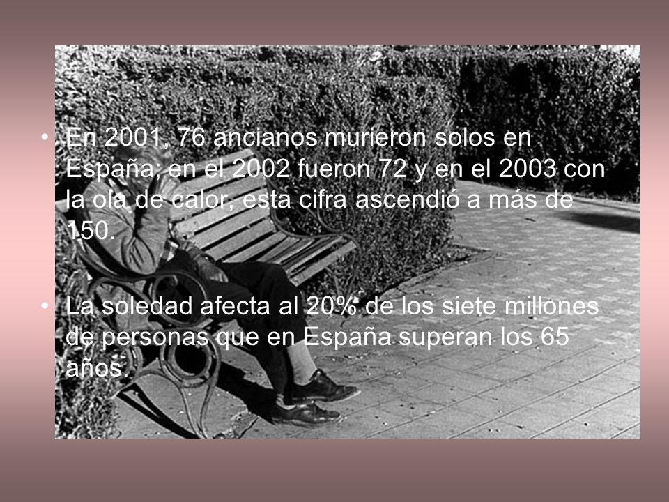 En 2001, 76 ancianos murieron solos en España; en el 2002 fueron 72 y en el 2003 con la ola de calor, esta cifra ascendió a más de 150.