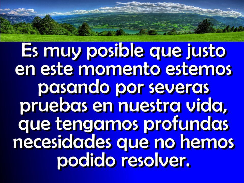 Es muy posible que justo en este momento estemos pasando por severas pruebas en nuestra vida, que tengamos profundas necesidades que no hemos podido resolver.