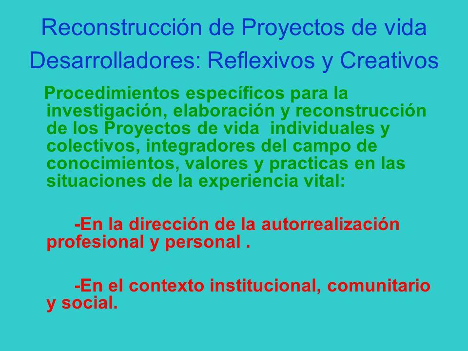 Reconstrucción de Proyectos de vida Desarrolladores: Reflexivos y Creativos