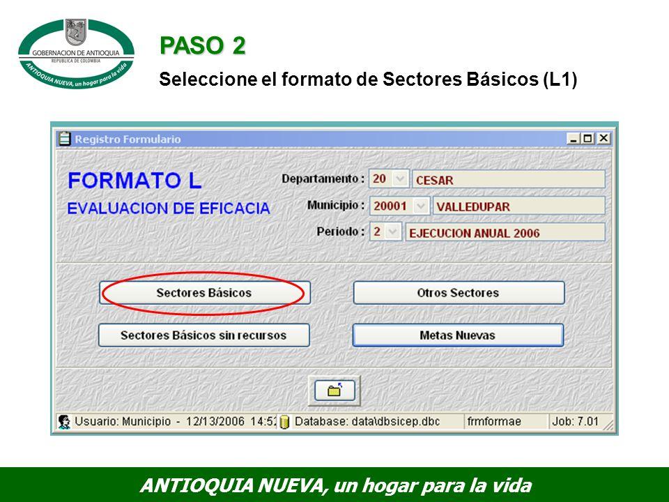 PASO 2 Seleccione el formato de Sectores Básicos (L1)