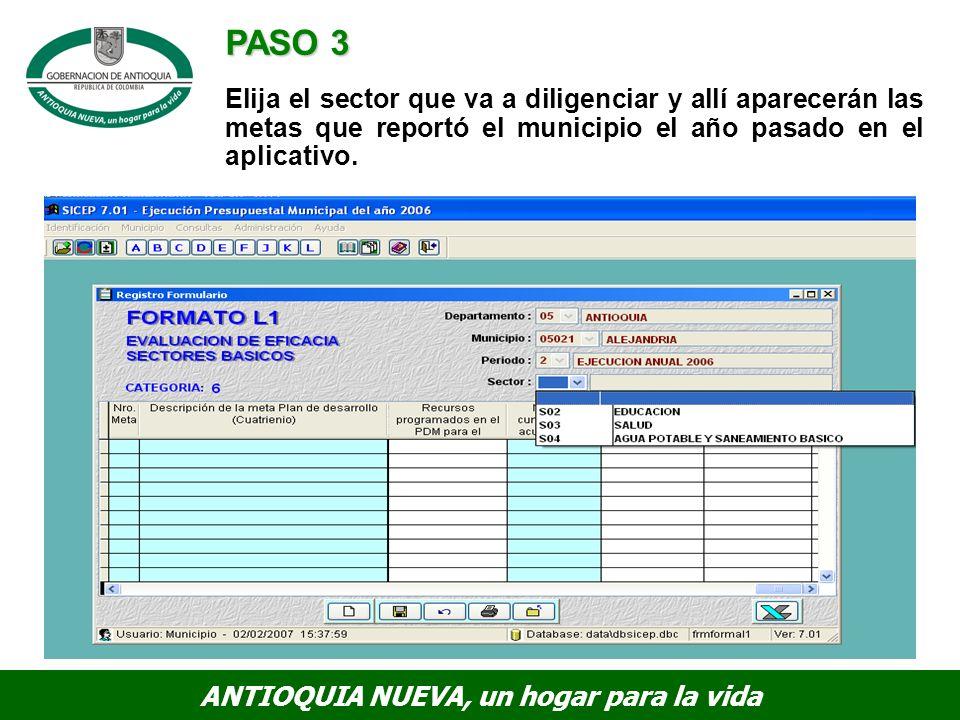 PASO 3 Elija el sector que va a diligenciar y allí aparecerán las metas que reportó el municipio el año pasado en el aplicativo.