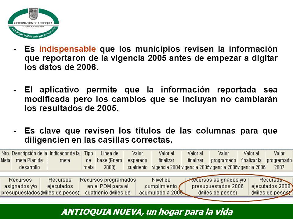 Es indispensable que los municipios revisen la información que reportaron de la vigencia 2005 antes de empezar a digitar los datos de 2006.