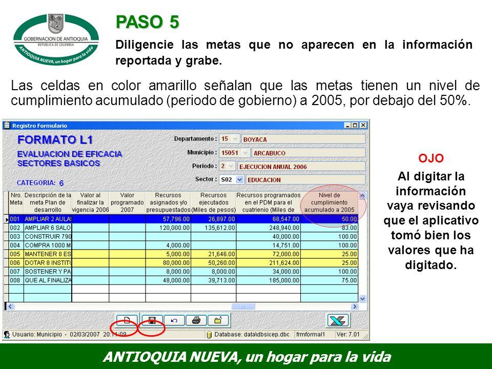 PASO 5 Diligencie las metas que no aparecen en la información reportada y grabe.