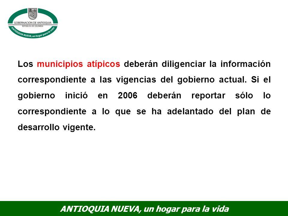 Los municipios atípicos deberán diligenciar la información correspondiente a las vigencias del gobierno actual.