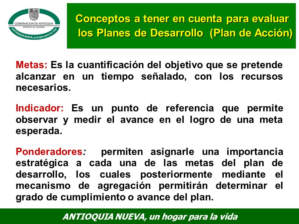 Conceptos a tener en cuenta para evaluar los Planes de Desarrollo (Plan de Acción)