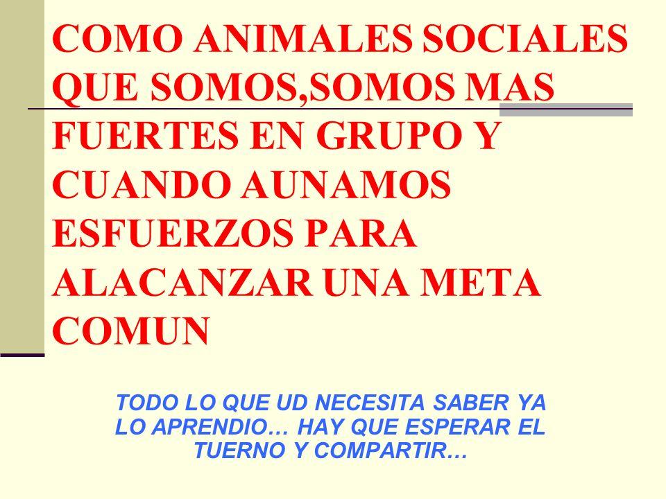 COMO ANIMALES SOCIALES QUE SOMOS,SOMOS MAS FUERTES EN GRUPO Y CUANDO AUNAMOS ESFUERZOS PARA ALACANZAR UNA META COMUN