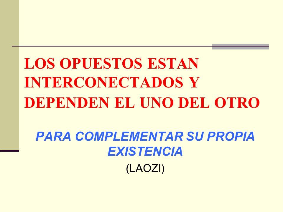 LOS OPUESTOS ESTAN INTERCONECTADOS Y DEPENDEN EL UNO DEL OTRO