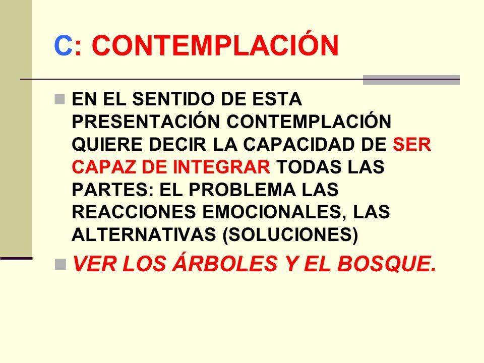 C: CONTEMPLACIÓN VER LOS ÁRBOLES Y EL BOSQUE.