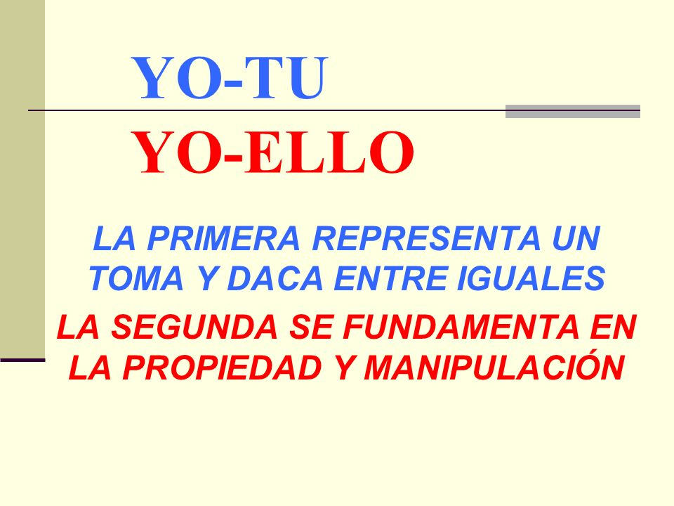 YO-TU YO-ELLO LA PRIMERA REPRESENTA UN TOMA Y DACA ENTRE IGUALES