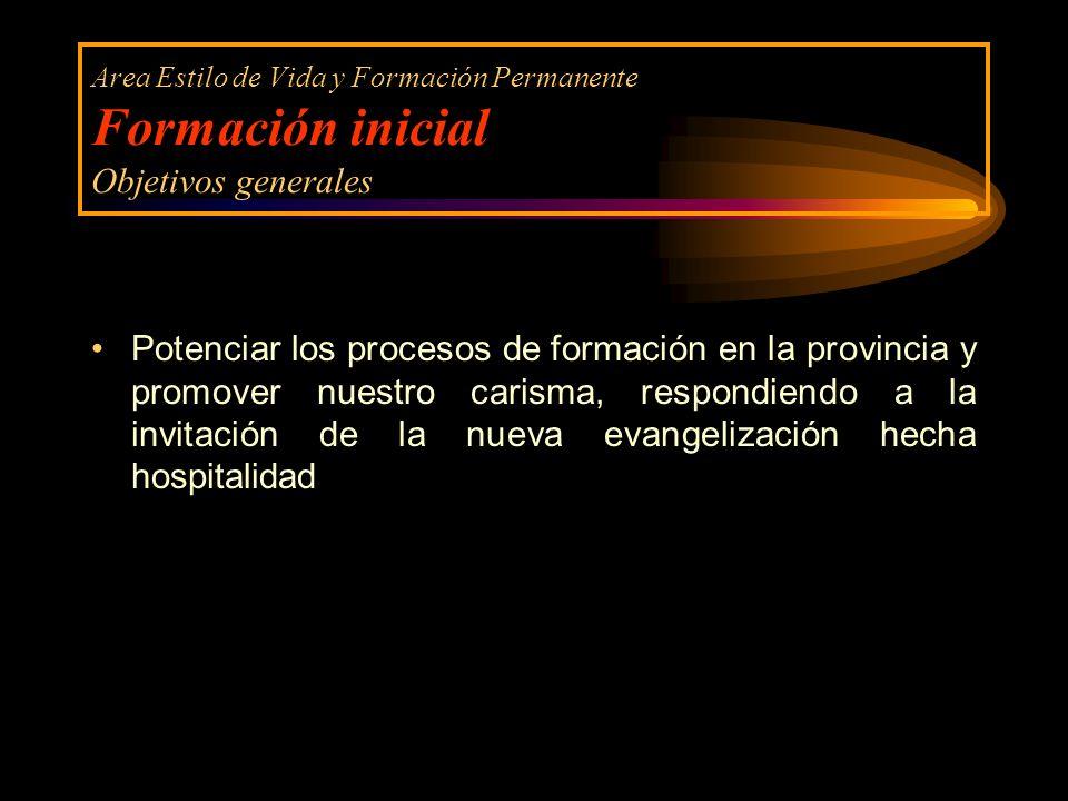 Area Estilo de Vida y Formación Permanente Formación inicial Objetivos generales