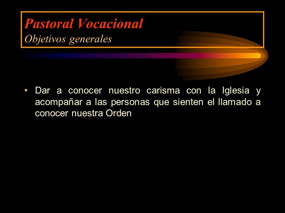 Pastoral Vocacional Objetivos generales