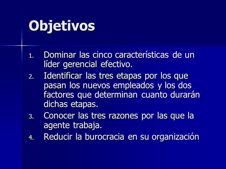 Objetivos Dominar las cinco características de un líder gerencial efectivo.
