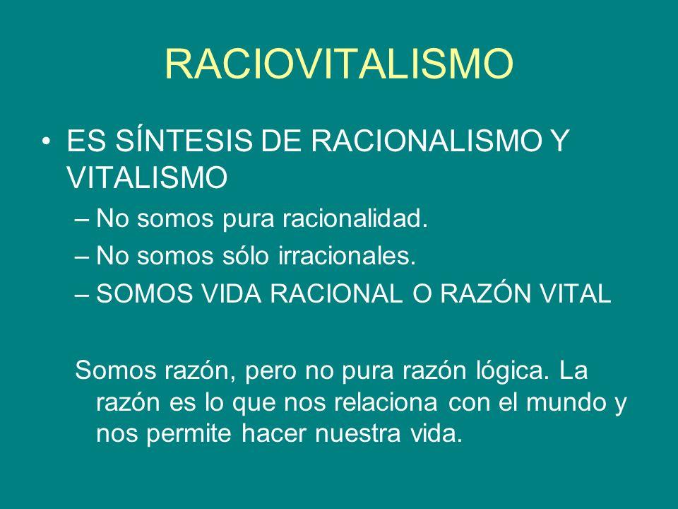 RACIOVITALISMO ES SÍNTESIS DE RACIONALISMO Y VITALISMO