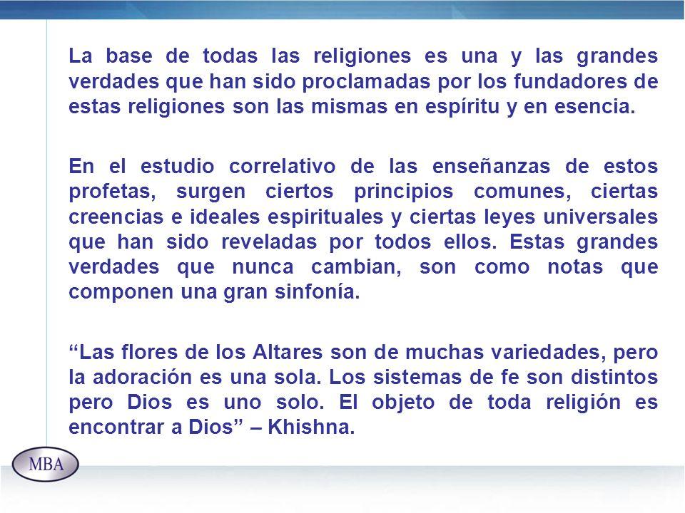 La base de todas las religiones es una y las grandes verdades que han sido proclamadas por los fundadores de estas religiones son las mismas en espíritu y en esencia.