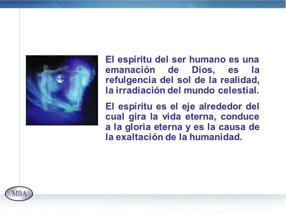 El espíritu del ser humano es una emanación de Dios, es la refulgencia del sol de la realidad, la irradiación del mundo celestial.