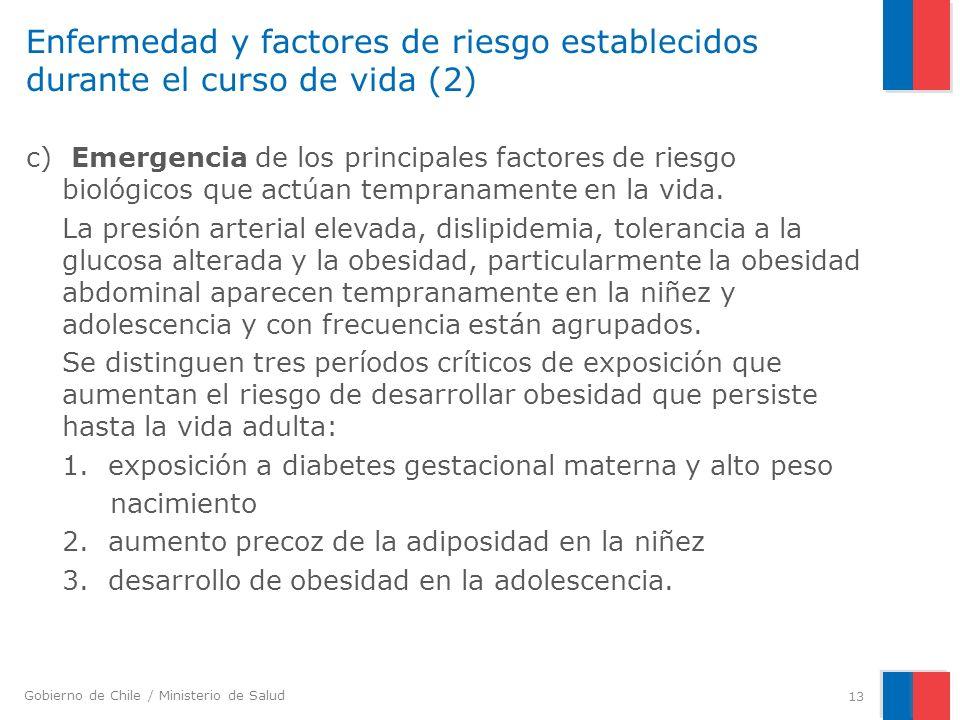 Enfermedad y factores de riesgo establecidos durante el curso de vida (2)