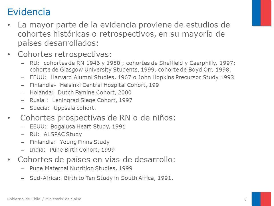 EvidenciaLa mayor parte de la evidencia proviene de estudios de cohortes históricas o retrospectivos, en su mayoría de países desarrollados: