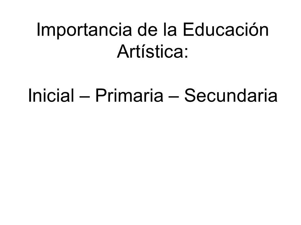 Importancia de la Educación Artística: Inicial – Primaria – Secundaria