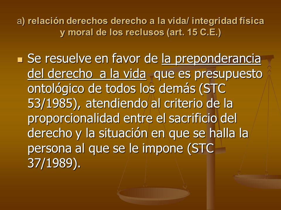a) relación derechos derecho a la vida/ integridad física y moral de los reclusos (art. 15 C.E.)
