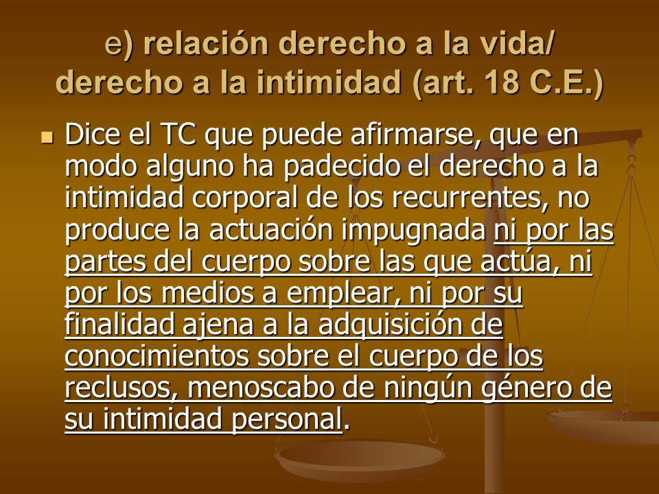 e) relación derecho a la vida/ derecho a la intimidad (art. 18 C.E.)