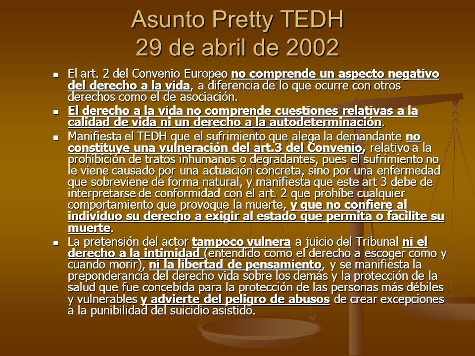 Asunto Pretty TEDH 29 de abril de 2002