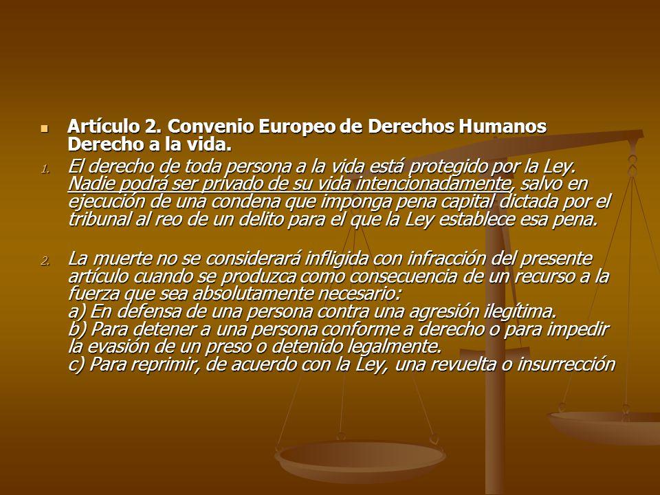 Artículo 2. Convenio Europeo de Derechos Humanos Derecho a la vida.