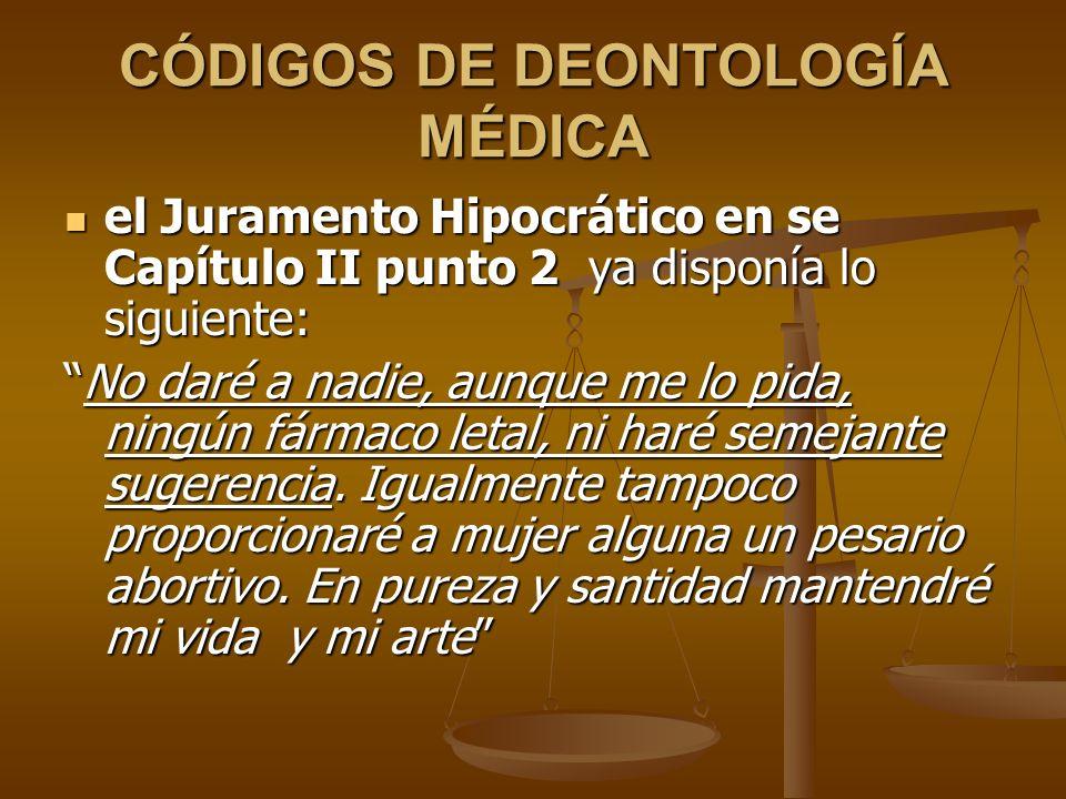 CÓDIGOS DE DEONTOLOGÍA MÉDICA
