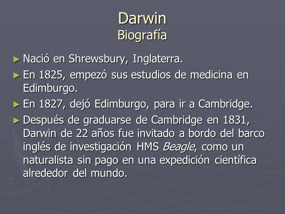 Darwin Biografía Nació en Shrewsbury, Inglaterra.